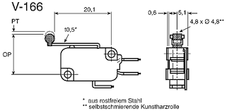 v 166 1c5 r spdt long roller lever microswitch 16 a 250 v ac approvals