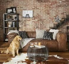 retro brown top grain leather sofa