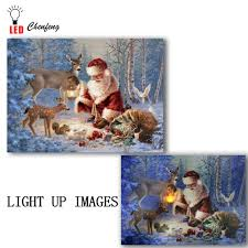 Vintage Light Up Santa And Reindeer Us 14 99 25 Off Led Canvas Print Vintage Santa Claus Deer In Winter Night Oil Painting On Canvas Wall Art Decor Light Up Christmas New Year Gift In