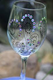 wine gl hand painted wine glass trees pair of wine gl 18 oz