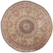 round silk vintage tabriz persian rug for
