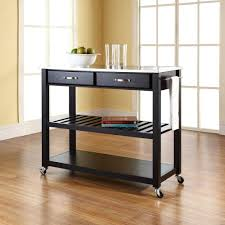 kitchen island cart with stools. Simple Island Crosley Black Kitchen Cart With Stainless Steel Top And Island Stools U