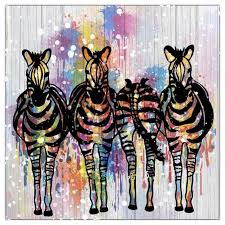 image is loading four only zebra painting animals canvas colorful horse