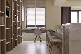 home office interior design. Outstanding Home Office Interior Design With L Shape Wooden Desk Table And Large Shelves