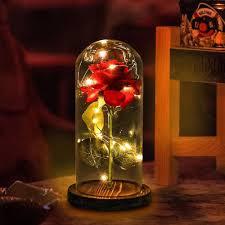 Enchanted Led Rose Light Beauty And The Beast Enchanted Forever Rose Glass Led Light
