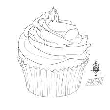 Cupcake Coloring Page For Shrink Art