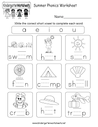 Kids can develop their english and math skills with worksheets that cover phonics, addition, color by number, color by letter, and writing. Summer Phonics Worksheet For Kindergarten Free Printable