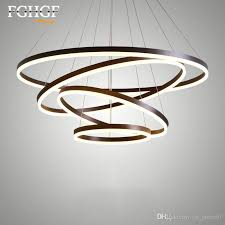 ring led chandelier light white coffee color circle pendant lighting fixture lamp dining living room restaurant res de cristal rustic chandeliers white