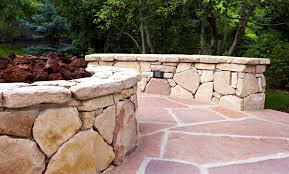 flagstone patio with fire pit. Fire Pit On Flagstone Patio | Landscape Connection Design In Denver With