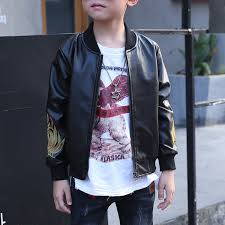 boys leather jacket kids flower embroidery coat for 4y 15y on newchic