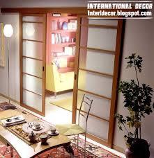 sliding glass door with wooden frames for office room interior design