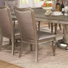 Pedestal Dining Table Set Danette Double Pedestal Dining Table Set In Metallic Platinum