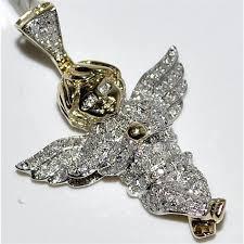 angel pendant real diamond 0 7ct 10k yellow gold 25mm big pave set