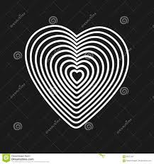 Black Heart On White Background Optical Illusion Of 3d Three