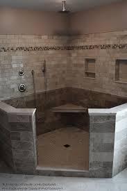 large tiled walk in shower installed by old world tile
