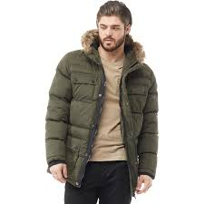 brave soul mens balfour fur trim hood puffer jacket dark khaki