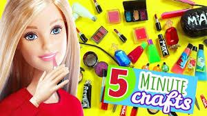 100 diy miniature barbie dollhouse makeup accessories lifehacks 5 makeup lipstick etc