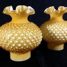 rare vintage fenton art glass honey amber overlay hobnail hurric lampshade