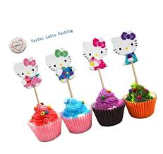 Hello Kitty Cupcake Toppers Party Pack 24 Cupcakes For Sale Online