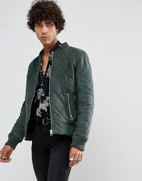 goosecraft leather quilted er jacket in khaki green