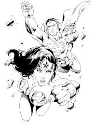 superman and wonder woman coloring pages