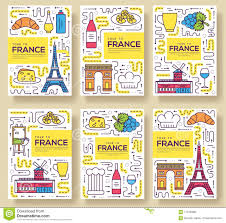 France Vector Brochure Cards Thin Line Set Country Monument Travel
