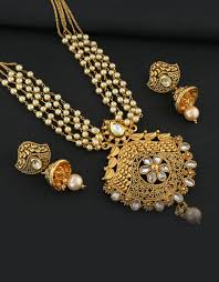 gold tone artificial pendant with pearl chain studded with stones pendant earring set loading zoom