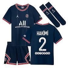 PSG x Jordan Heim-Stadion-Trikot-Set 2021-22 - Kleinkinder mit Aufdruck  Hakimi 2