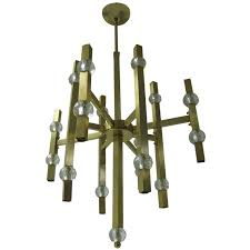 mid century modern gaetano sciolari satin brass and crystal chandelier for