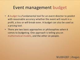 Budgeting For An Event Budgetary Procedures