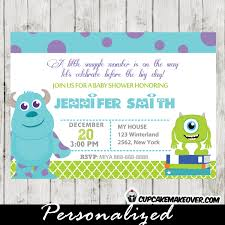 Baby Shower Invitation Cards Monsters Inc Baby Shower Invitation Card Personalized D5
