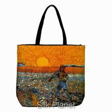 vincent van gogh sower sunset painting tote bag purse fine art print canvas