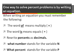 one way to solve percent problems is by writing an equation