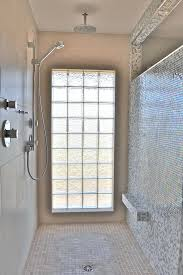 glass block shower window design bathroom modern with foot rest in mosaics 7 glass block shower window