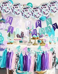 Purple Happy Birthday Banner Purple Teal Mermaid Party Supplies Mermaid Teal Purple Cofetti