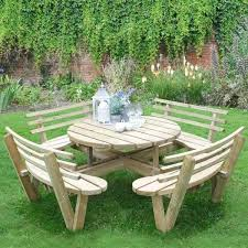 round picnic table with benches circular timber picnic table with seat backs redwood picnic table with