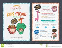 Cute Kids Menu Template Stock Illustration Illustration Of