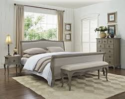 camille french style weathered oak upholstered bed