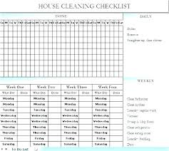 Professional Schedule Template Home Cleaning Schedule Template Professional House Checklist