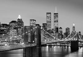 new york city wall art nyc skyline with twin towers black and white