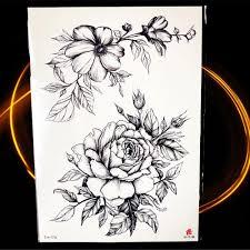 карандашный эскиз черный цветок временные татуировки боди арт рисование
