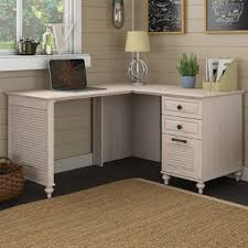 White desk with drawers on both sides Small Quickview Birch Lane Farmhouse Desks Birch Lane