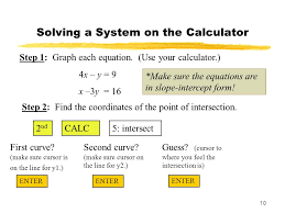 solving a system on the calculator