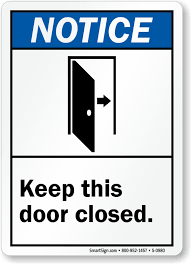 keep this door closed graphic sign