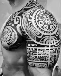 Polynesian Shoulder Chest Tattoos Pooino Yrondi Pooino Yrondi