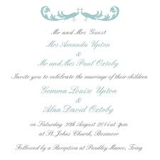 Wedding Invitation Wording From Bride And Groom With Parents