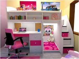 girl loft bed with desk underneath