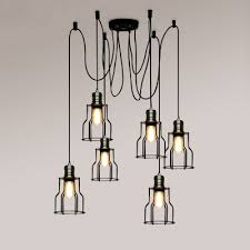 6 light suspender chandelier with wire cage industrial wrought iron multi light pendant lighting in black