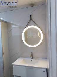 Gương phòng tắm tròn dây da đèn led treo tường