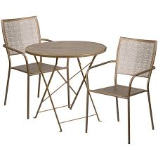 30 round gold indoor outdoor steel folding patio table set with 2 square